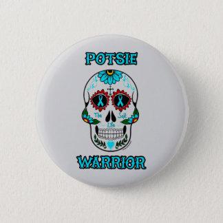 Chapa Redonda De 5 Cm Cráneo… P.O.T.S. del guerrero/del azúcar