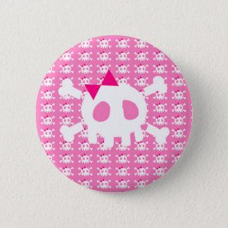 Chapa Redonda De 5 Cm Cráneo punky rosado femenino