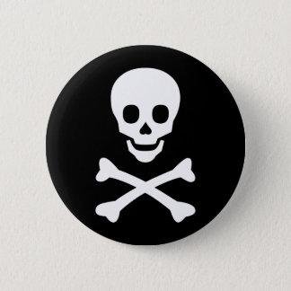 Chapa Redonda De 5 Cm Cráneo y bandera pirata