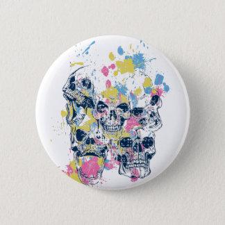 Chapa Redonda De 5 Cm cráneos coloreados del vintage