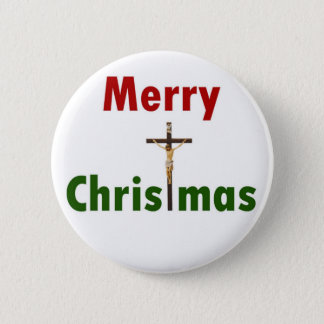 Chapa Redonda De 5 Cm Crucifijo de las Felices Navidad