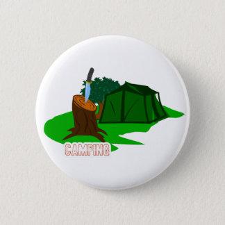 Chapa Redonda De 5 Cm Cuchillo y tienda que acampan