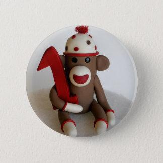 Chapa Redonda De 5 Cm Cumpleaños del mono del calcetín primer