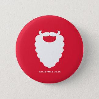 Chapa Redonda De 5 Cm Día de fiesta moderno de la barba roja y blanca de