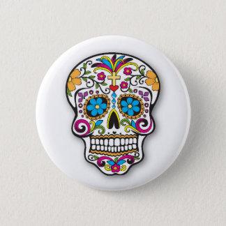Chapa Redonda De 5 Cm Día mexicano colorido del cráneo del azúcar de los