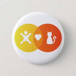 Chapa Redonda De 5 Cm Diagrama de Venn de los gatos del corazón de la