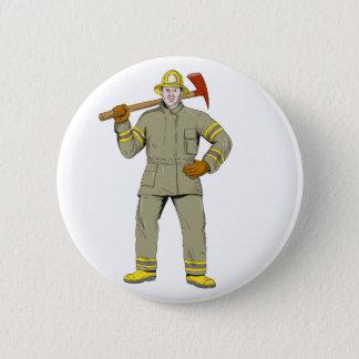 Chapa Redonda De 5 Cm Dibujo americano del hacha del fuego del bombero
