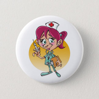 Chapa Redonda De 5 Cm Dibujo animado divertido de la enfermera