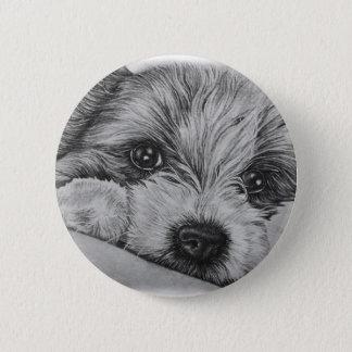Chapa Redonda De 5 Cm Dibujo del perro de perrito del arte animal lindo