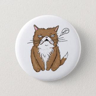 Chapa Redonda De 5 Cm Dibujo gruñón divertido del gato de Meh