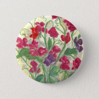 Chapa Redonda De 5 Cm Dibujo rojo de la acuarela del jardín de flores