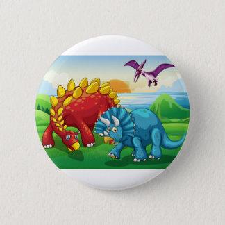 Chapa Redonda De 5 Cm Dinosaurios en el parque