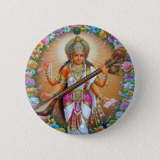 Chapa Redonda De 5 Cm Diosa Saraswati
