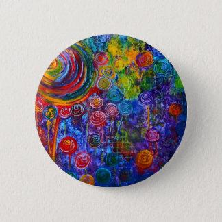 Chapa Redonda De 5 Cm Diseño colorido del arte de los remolinos del