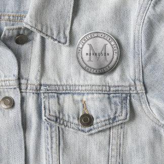 Chapa Redonda De 5 Cm Diseño de negocio de plata del monograma