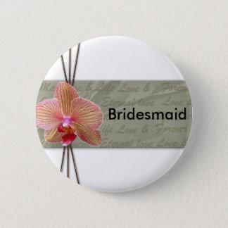 Chapa Redonda De 5 Cm Diseño elegante del boda de la orquídea