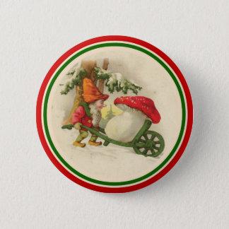 Chapa Redonda De 5 Cm Duende del navidad del vintage con la seta