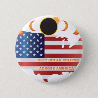 Chapa Redonda De 5 Cm Eclipse solar 2017 a través del ejemplo del mapa