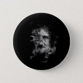 Chapa Redonda De 5 Cm Edgar Allan Poe en humo con el cuervo