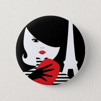 Chapa Redonda De 5 Cm Ejemplo elegante francés de la moda de la moda