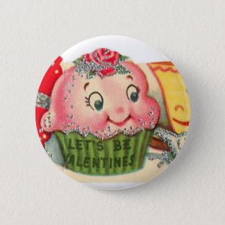 Chapa Redonda De 5 Cm El día de San Valentín retro de la magdalena y de