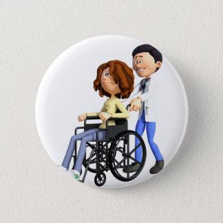 Chapa Redonda De 5 Cm El doctor Wheeling Patient In Wheelchair del