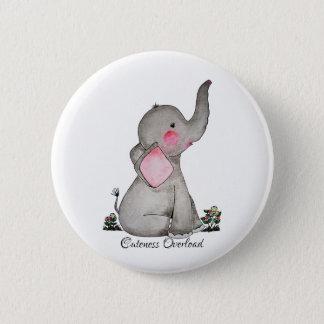 Chapa Redonda De 5 Cm El elefante lindo del bebé de la acuarela con se