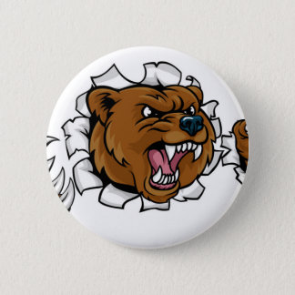 Chapa Redonda De 5 Cm El fondo enojado de la mascota del oso agarra