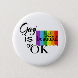 Chapa Redonda De 5 Cm El gay del orgullo de LGBTQIA es ok.OK hermoso.