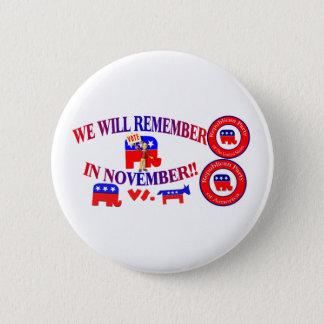 Chapa Redonda De 5 Cm El republicano recuerda en noviembre ObamaCare