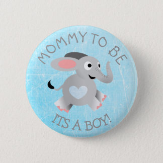 Chapa Redonda De 5 Cm Elefante azul del corazón su un Pin de la fiesta