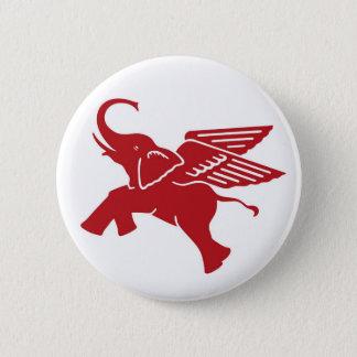 Chapa Redonda De 5 Cm Elefante de alas rojas