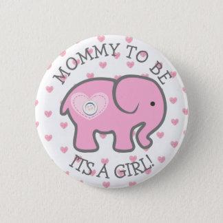 Chapa Redonda De 5 Cm Elefante rosado del corazón su un Pin de la fiesta