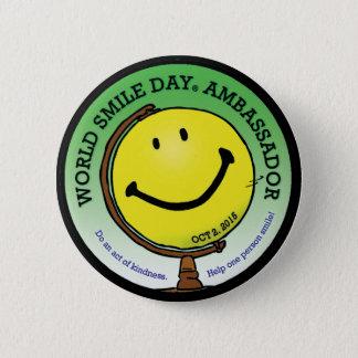 Chapa Redonda De 5 Cm Embajador 2015 de Day® de la sonrisa del mundo