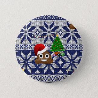Chapa Redonda De 5 Cm emoji feo del impulso del suéter del navidad