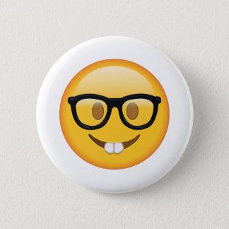 Chapa Redonda De 5 Cm Empollón con los vidrios - Emoji