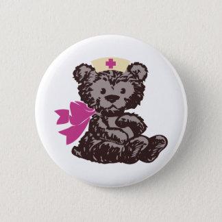 Chapa Redonda De 5 Cm Enfermera del oso de peluche (rosa)