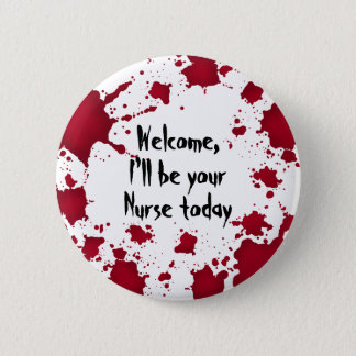 Chapa Redonda De 5 Cm Enfermera divertida de Halloween
