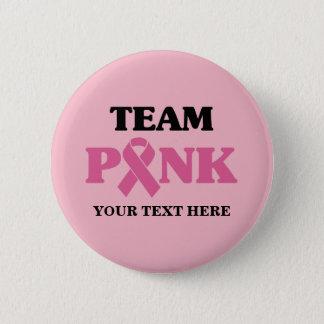 Chapa Redonda De 5 Cm Equipo de la cinta del rosa del cáncer de pecho