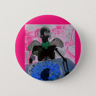 Chapa Redonda De 5 Cm Esqueleto rosado y negro, huesos, insignia del