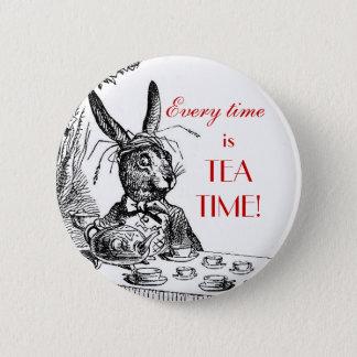 """Chapa Redonda De 5 Cm 'Está cada vez el tiempo del té!"""" ~Alice en el Pin"""