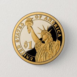Chapa Redonda De 5 Cm Estatua de moneda de oro $1 de la libertad