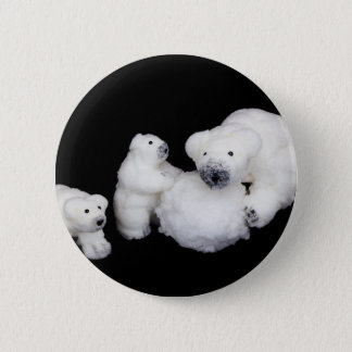 Chapa Redonda De 5 Cm Estatuillas de la familia de los osos polares que