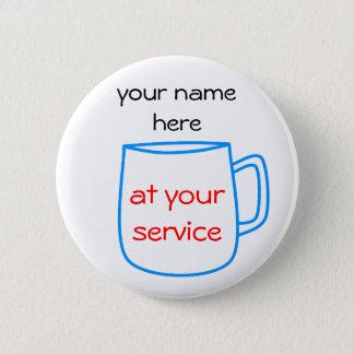 Chapa Redonda De 5 Cm Etiqueta azul del nombre de la taza de café