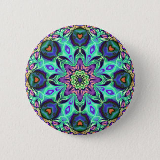 Chapa Redonda De 5 Cm Extracto de la mandala de la turquesa