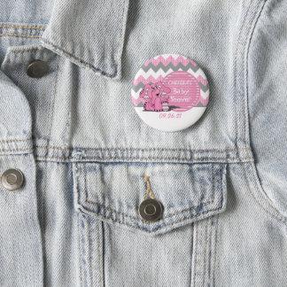 Chapa Redonda De 5 Cm Fiesta de bienvenida al bebé rosada y gris del