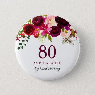 Chapa Redonda De 5 Cm Fiesta de cumpleaños floral roja de Borgoña Boho