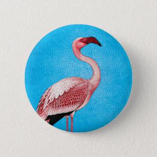 Chapa Redonda De 5 Cm Flamenco rosado en modelo azul retro