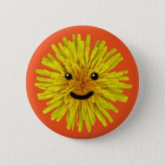 Chapa Redonda De 5 Cm Flor amarilla feliz del diente de león del verano