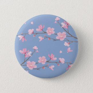 Chapa Redonda De 5 Cm Flor de cerezo - azul de la serenidad